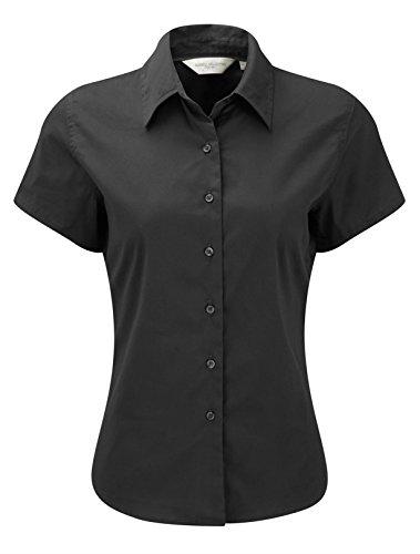 Russell Collection Klassische Twill-Bluse für Damen, kurzärmlig, grau, M/12