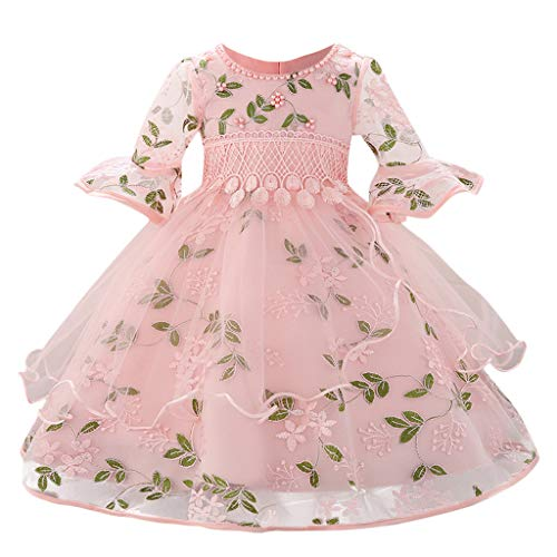 Qpika Toddler Baby Grils Dress Flower Print Trumpet Sleeves Princess Bridesmaid Birthday Party Wedding -