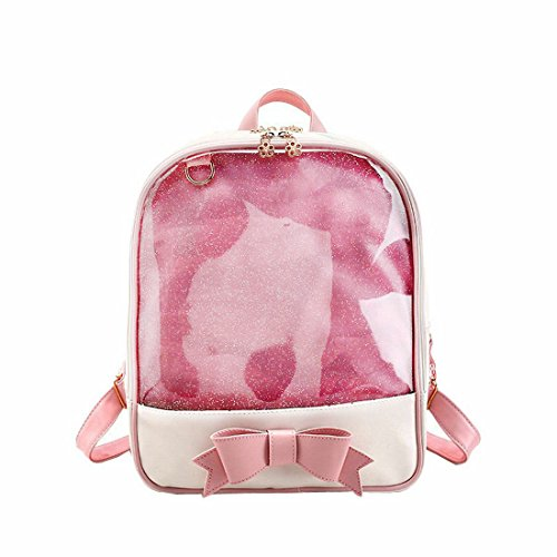 Women's Chic Candy Color Backpack Transparent Cute Knapsack Clear School Bookbag (Clear Heart)