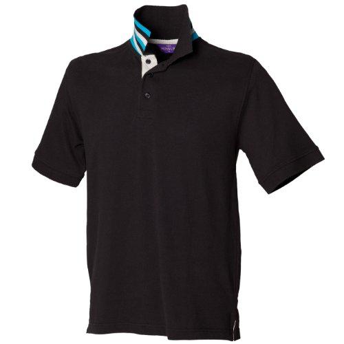 Henbury Herren T-Shirt Black/Heather Grey/Turquoise