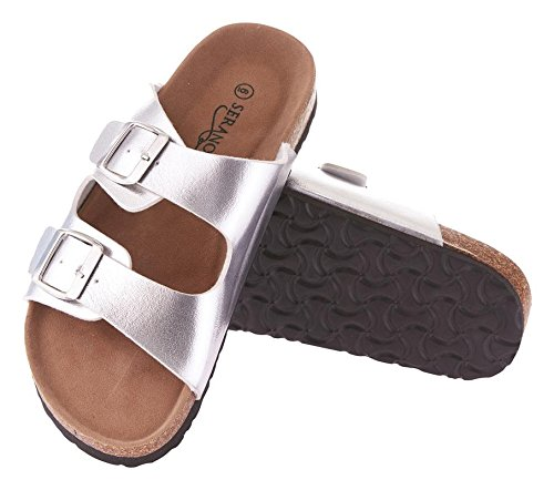 Women's Slide Seranoma Casual Summer Comfortable Spring Silver Sandals Cork PwzxF7q4