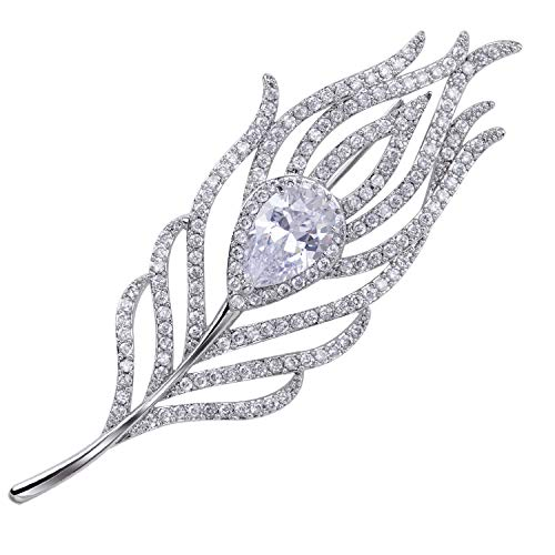 - VVANT Brooches for Women with Zircons,Sliver Feather Brooch Pins,Fashion Brooch Gifts for Christmas/Wedding/Birthday (Feather Sliver)