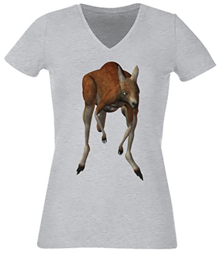 Kangourou Gris Coton Femme V-Col T-shirt Manches Courtes Grey Women's V-neck T-shirt