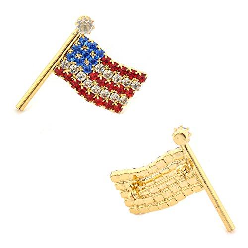 USA Flag Pin Gold Small Wavy American Flag Pin Gold American Flag Pin