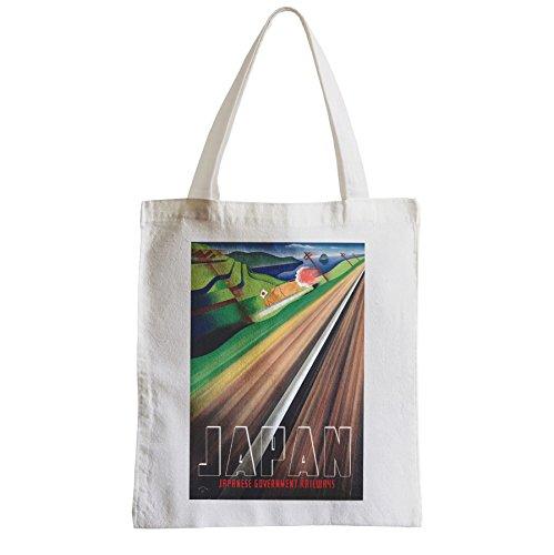 Große Tasche Sack Einkaufsbummel Strand Schüler Japan-Eisenbahn Reise Retro Vintage Japan