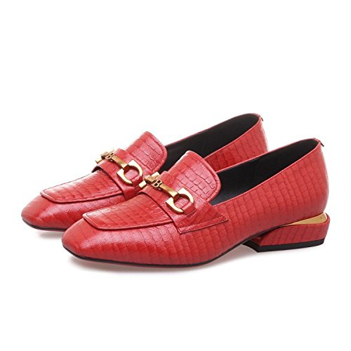 Plano de de Temperamento Zapatos de Bajos de ZFNYY de Zapatos Metal Individuales Patrón Hebilla de Piedra Zapatos Tacón xqF04P