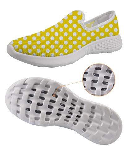 Yellow Polka Dot Slip On Water Shoes Vintage Elegant Outdoor Beach Hiking -