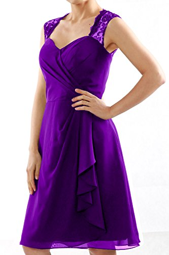 Gown Short Violett Cocktail Party Dress Women Lace Straps MACloth Wedding Bridesmaid qBz7WT