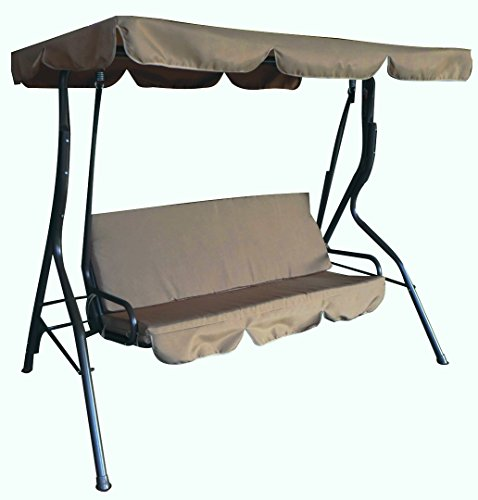"Ben&jonah Eclipse Patio 3 Seat Taupe Pad Bench Swing 67""L..."
