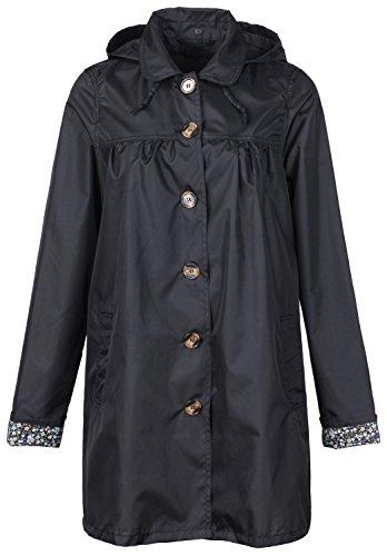 Khaki Raincoat - QZUnique Women's Fashion Outdoor Packable Rain Jacket Poncho Raincoat with Hood Black