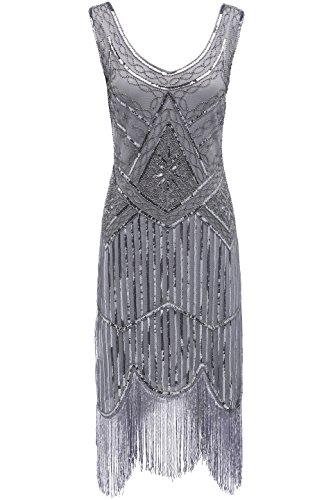 BABEYOND 1920s Flapper Dress Roaring 20s Great Gatsby Costume Dress Fringed Sequin Dress Embellished Art Deco Dress Gray -