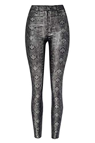 WEEKAN Women's Faux Leather Leggings Pants Snake Printed Stretchy High Waisted Tights (Silver, US 8)