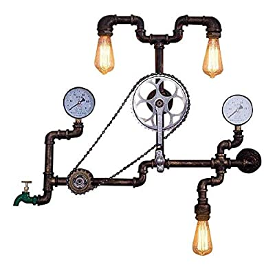 INJUICY Industrial Steam Punk Wall Lamp, Antique Metal Water Pipe Sconces Light with Bicycle Shape for Bedroom Living, Dining Room, Cafe Bar, Hallway Decor