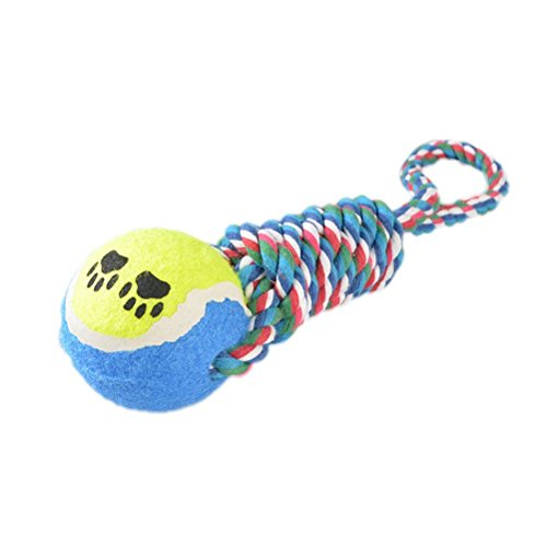 Hii-Yo Pet Toy Tennis Balls with 11 Inch Cotton Rope Durable Dental Chew and Tug Dog Toys -Random Color