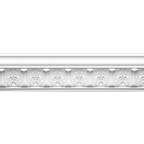 Focal Point 23145 Athenian Leaves Crown Moulding 4 1/8-Inch by 8 Foot, Primed White, - Crown Pine Molding