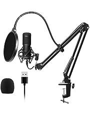Pceewtyt USB streaming Podcast PC professionele studio condensatormicrofoon met nierkarakteristiek en geluidskaarten, Boom Arm Shock Mount Filter voor Skype Youtuber Karaoke opnames