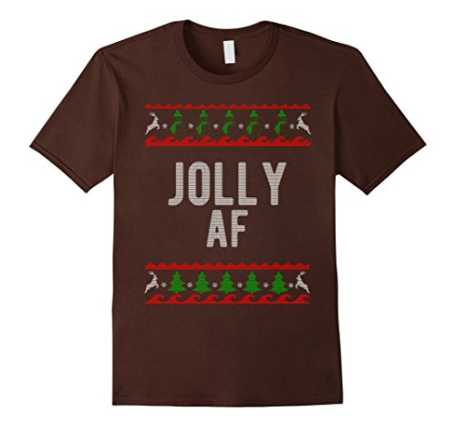 Mens Cool Jolly AF Ugly Christmas Sweater Style Funny T Shirt Medium Brown