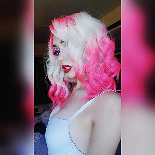 Imstyle Pink Blonde Lace Front Wigs Short Bob Wavy Wigs for Women 2 Tone Neon Color Synthetic Hair Wig Free Part With Natural Hairline Shoulder Length