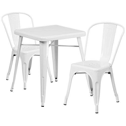MFO 23.75'' Square White Metal Indoor-Outdoor Table Set with 2 Stack Chairs
