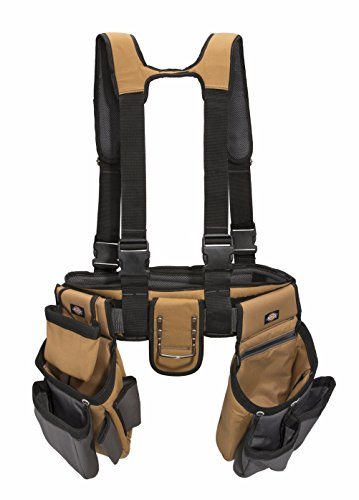 Dickies Work Gear - 4-Piece Carpenter's Rig - 57023 - Tool Belt Suspenders - Cooling Mesh - Padded Suspenders - Steel Buckle - Leather Tool Belt - Grey/Tan - 3.8 lb.