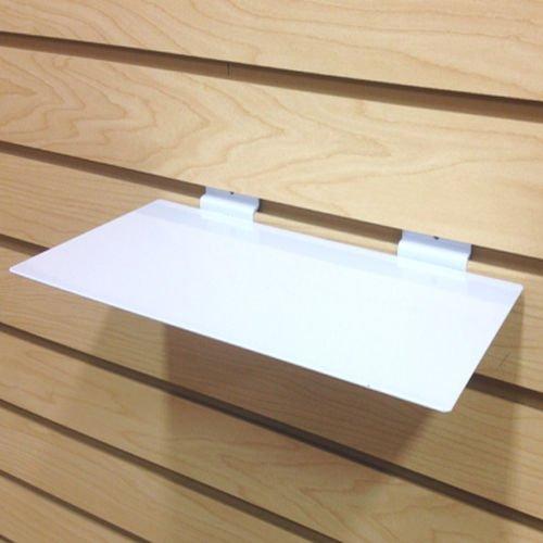 White Slatwall Metal Large Shoe Shelf, Flat Display Shelves for Slat - 6