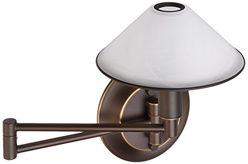 Brass Aging Eye (Holtkoetter 9426 HBOB AWH Lighting for The Aging Eye Halogen Swing-Arm Wall Sconce, Hand-Brushed Old Bronze with Alabaster White Glass)