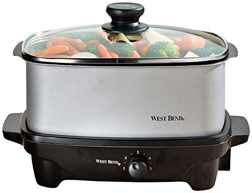 West Bend 84915 5-Quart Oblong-Shaped Slow Cooker with Tote by West Bend