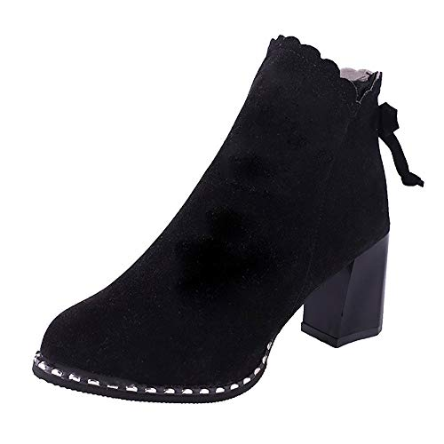 Sunmoot Suede Ankle Bootie Women Chunky High Heels Scrub Bow Side Zip Shoes (Side Bow Lace Platform)