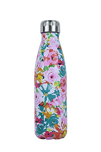 Luoda Double Walled Vacuum Flask - Insulated Stainless Steel Water Bottle - Leak Proof Cola Shape Portable Water Bottle - No Sweat,Hot/Cold 24 Hours,17 Oz (500 ml) (Flower) (Flowers Water Bottle Stainless)