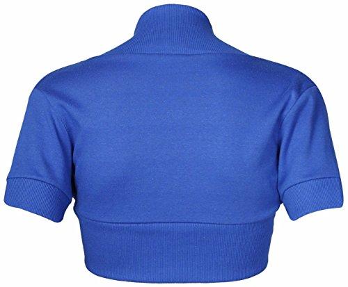 Haussement Courtes Haut Royal Manches Coton Femmes Bleu Bolero Uni IqHq1
