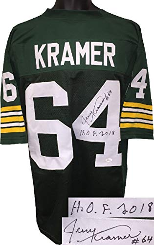 c517b1acc4c78 Image Unavailable. Image not available for. Color: Jerry Kramer Autographed  Signed Green TB Custom Stitched Pro Style Football Jersey #64 HOF 2018