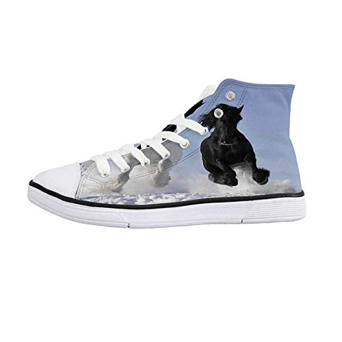 Horses Comfortable High Top Canvas ShoesCompeting Racing Black and White Horses on Snow Good and Evil Mythical Symbolic Creatures for Women Girls,US 8