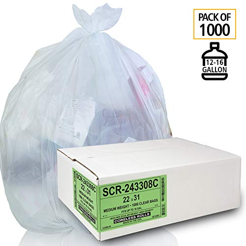 Aluf Plastics 12-16 Gallon Trash Bags - (Commercial 1000 Pack) - Source Reduction Series Value High Density 6 Micron (equiv) Gauge - Intended for Home, Office, Bathroom, Paper, Styrofoam