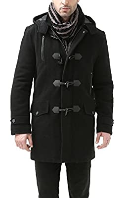 BGSD Men's 'Tyson' Wool Blend Leather Trimmed Toggle Coat (Regular Big & Tall)
