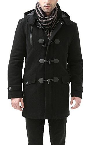 BGSD Men's Tyson Wool Blend Leather Trimmed Toggle Coat, Black, Medium
