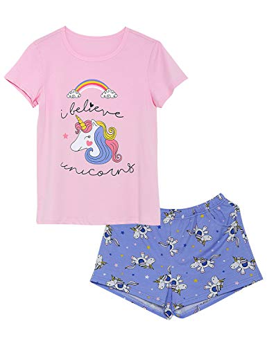 Girls Unicorn Pajamas - 100% Cotton Short Sleeve Tee & Shorts Summer Jammies Set Sleepwear Size 4T