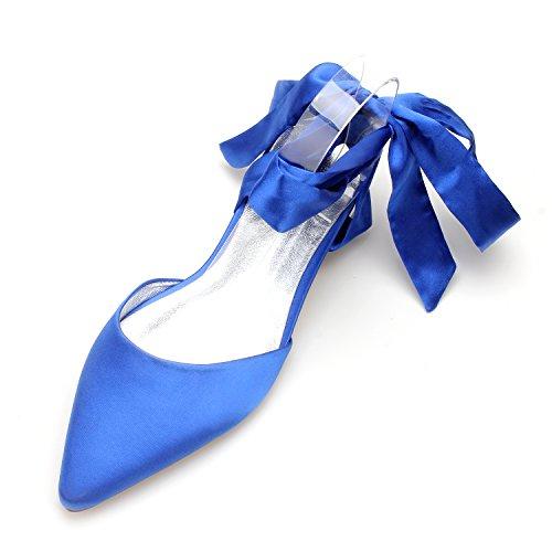 MarHermoso Women's Pointed Toe Lace up Satin Royal Blue Flat (Pleated Satin Flat)
