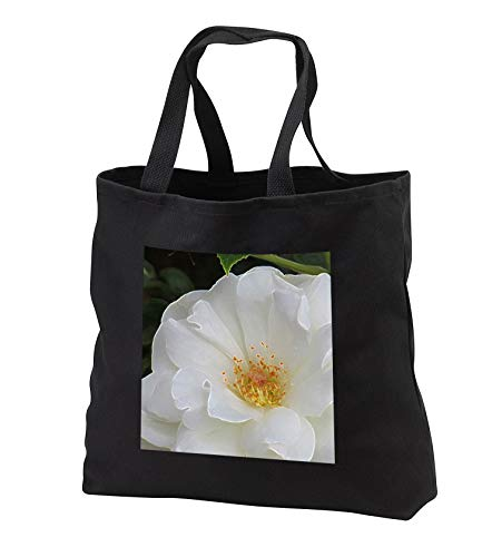 Jos Fauxtographee- Accented Edges White Floral - A white delicate and pure flower with a yellow center - Tote Bags - Black Tote Bag 14w x 14h x 3d (tb_301829_1)