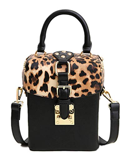 ZEN - Women Leopard Mini Handbag Box Crossbody Bag Cellphone Pouch With Fur -