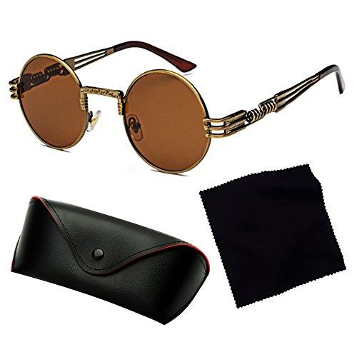 Hombres Mujeres juqilu Sunglasses Classic C1 Gafas Metal Steampunk Punk Vintage sol HipHop de d6qq75