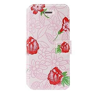 comprar Flores rojas patrón pequeño estuche de cuero de color rosa fresca con ranuras de soporte y tarjeta para el iphone 5/5s