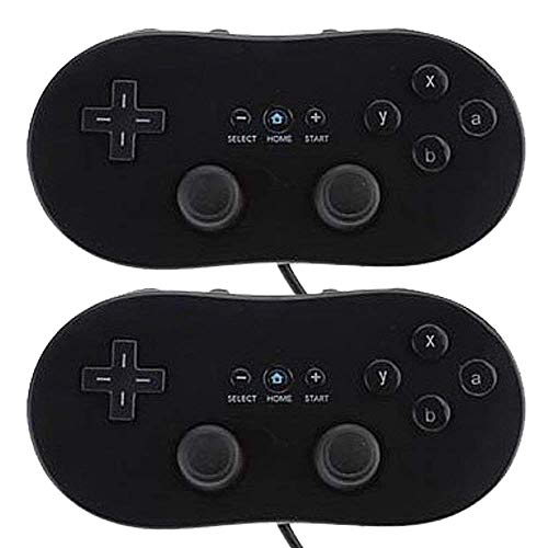 Poulep 2 Packs Classic Retro Wired Controllers Pro Compatible for Nintendo Wii (Black and Black 1)