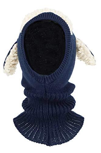 Bienvenu Children Boys Girls Knitted Oversized Hat Dog Woolen Ear Infinity Scarf Outdoor Skull Caps for Autumn Winter, Navy