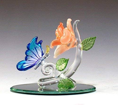 DAR Giftware Blown Glass Butterfly and Flower Figurine Collectible 3.5 Inches Tall