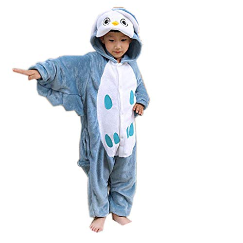Animal Onesie Pajamas for Adults Kids Unisex Cartoon Outfit,One Piece Cosplay Sleepwear Halloween Jumpsuit(blue-85-for Height (90-108cm))