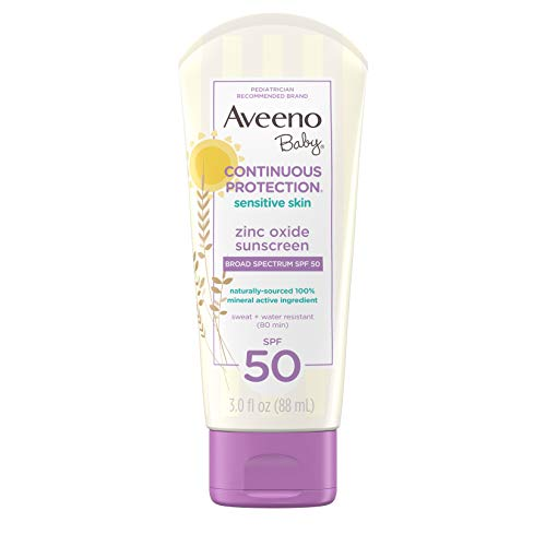 - Aveeno Baby Continuous Protection Zinc Oxide Mineral Sunscreen Lotion For Sensitive Skin With Broad Spectrum SPF 50, Tear-Free, Sweat- & Water-Resistant, Travel-Size, 3 Fl Oz