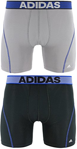adidas Men's Sport Performance Climacool Boxer Briefs Underwear (2-Pack), Onyx/Blue/Night Grey/Blue, X-Large