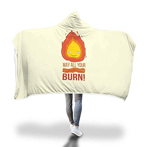 Calcifer May All Your Bacon Burn Howls Moving Castle Inspired Super Soft Sherpa Fleece Hooded Blanket