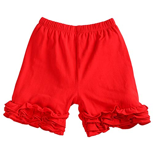 Icing Ruffle Shorties for Toddler Girls Solid Candy Color Double Ruffle Pants Kids Boutique Summer Shorts Baby Cotton Bloomers Elastic Waist Bottoms Casual Birthday Party Clothes Photo Shoot Red 18M