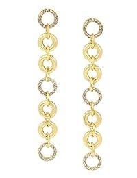 Bebe Aretes Dorados para Mujer Tipo Lazo en Forma de Círculos Entrelazados con Cristales, Gold Collection